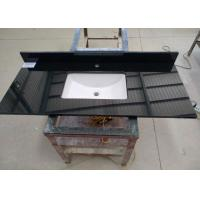 Black Commercial Bathroom Countertops Durable With Squared Sink Manufactures