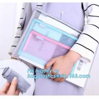 600D polyester portfolio file folder, file folder a4 size PVC mesh document bag with zipper cosmetics offices supplies t Manufactures
