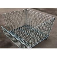 4 Tiers Other Material Handling Equipment / Stainless Folding Steel Wire Container Manufactures