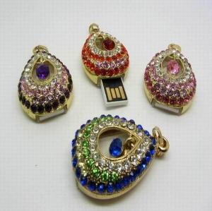 China Crystal heart-shaped diamond pendant USB flash drive on sale