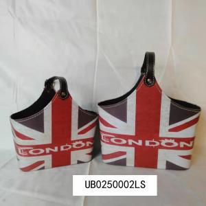 UK Flag Design PU leather basket for wine gift fruit desk organizer storage basket gift basket Manufactures