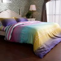 Exquisite A B Pattern Sateen Bedding Sets , Teen Striped Sateen Cotton Bed Sets Manufactures