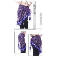 Sweet Shinning Belly Dancing Hip Scarves In Purple / Peacock Blue / Rose Red Manufactures