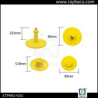 Round Shape Pig Ear Tag Yellow Colour Small Size Custom Ear Tags For Goats Manufactures