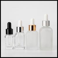 Clear Square Glass Dropper Bottles Bpa Free For Essential Oils Aromatherapy Manufactures