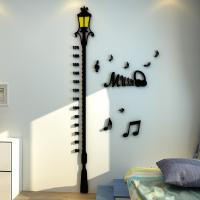 3d Street road lamp  Wall Decoration Sticker Measuring Kids Height Wall Stickers Height Wall Sticker Children Manufactures