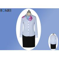 Modern Corporate Office Uniforms Ladies / Blue And White Stripe Shirt Manufactures