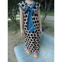 Stretched Little Girl Velvet Dresses , Black Polka Dots Fall Color Block Dress Manufactures