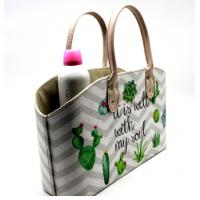 Cactus Plant Print Leather Cosmetics Organizer Basket Custom Cardboard Pu Leather Basket with Handle Manufactures