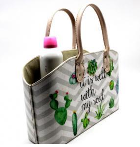 Cactus Plant Print Leather Cosmetics Organizer Basket Custom Cardboard Pu Leather Basket with Handle Manufactures