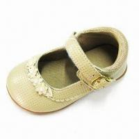 Girl's PU Shoes with Adjustable Straps, Bone PU Upper, Mesh Lining/Insole and TPR Outsole Manufactures