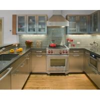 Integrated U Shape Stainless Steel Kitchen Cabinets With Grey Countertop Manufactures
