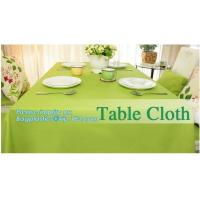 Disposable tnt pp spunbond non woven table cloth, modern luxury restaurant dining used non woven long teal pvc plastic t Manufactures