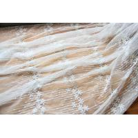 China Embroidery Floral White Tulle Lace Fabric For Dress Clothing / Scarf / Curtain 51.18 Wide on sale