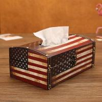 Wooden Tissue Box Cover Holder Vintage American Flag Style Classical Napkin Box for Office Manufactures