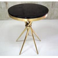 Gold Plated Modern Living Room Coffee Table With Tempered Glass , Fully Assambled Manufactures