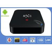 Quality Quad Core MX3 4K Android Smart IPTV Box With Reset Key Support YunOS H.265 Decoder for sale