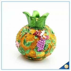 China Enamel Craft Pomegranate Shape Trinket Box Hand Painted Flying Bird with Rhinestone SCJ540 on sale