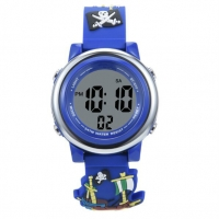 China 3 Atm Waterproof  Pirate Pvc Strap 7 Color Back Light Childrens Digital Watch on sale