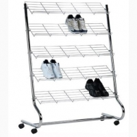 Wire Sloped Shelves Shoe Rack Floor Standing Multiple Layer Chrome Layer Stand for Shoes Manufactures