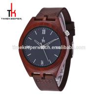 China Made out of Red sandal wood 100% nature wooden case with custom dial leather watch strap on sale