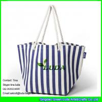 Quality LUDA striped paper straw handbag custom branded straw bag tote bag for sale