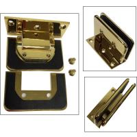 Gold plated shower hinge with C hole glass cut to cut--Similar Dorma style Manufactures