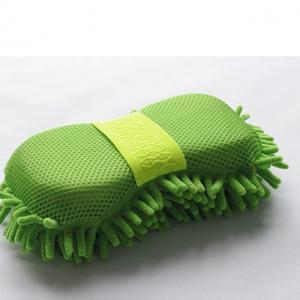 China Microfiber Car Wash Sponge With Mesh And Wrist Band Chenille Car Wash Sponge Pad on sale