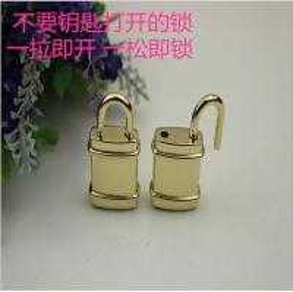 Quality Hot Sale Fake Decorative Gold Metal Handbag Lock Without Keys for sale