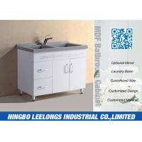 China Economic Floor Standing Bathroom Cabinets And Vanity With Artificial Stone Basin on sale