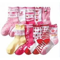 China Lovely Multi colors seamless 100 percent cotton kids / children argyle socks with dots on sale
