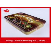 China Rectangle Chocolate Tin Boxes , Full Color Chocolate Gift Boxes With Embossed Hinged Cover on sale