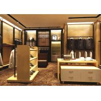 Quality Wood Grain Clothing Display Case Beige Coating Color For Men Suit Store for sale