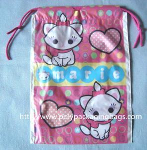 Waterproof Plastic Drawstring Bag , Drawstring Plastic Bag For Wet Towel / Sanitary Towel Manufactures