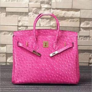 women high quality 35cm hot pink Ostrich print cowskin designer handbag fashion handbags L-RB4-17
