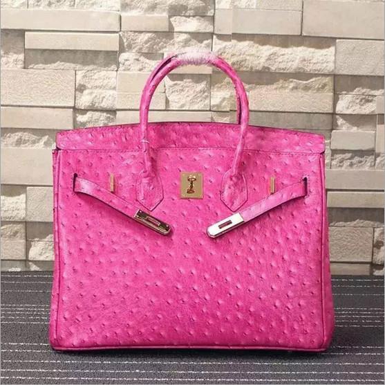 Quality women high quality 35cm hot pink Ostrich print cowskin designer handbag fashion handbags L-RB4-17 for sale