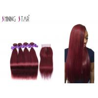 Swiss Lace Girls And Ladies Red Hair Extensions / Straight Weave With Closure Manufactures