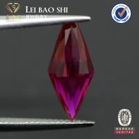 top quality synthetic loose corundum half drilling hole gemstone beads in ruby red color for pendant Manufactures
