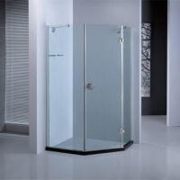Diamond Shape Stainless Steel Shower Enclosure with Black Acrylic Shower Base and Patent Design Manufactures