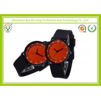 Red Round Dail Black Silicone Strap Watches Japan Movt For Unisex Manufactures