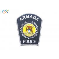 Iron on Backing Police Armband Embroidered Patch With silvery Merrowed Border Manufactures
