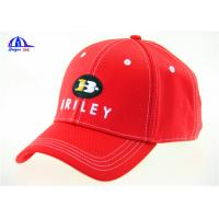 Red Contrast Stitching 6 Panel Embroidered Baseball Caps for Girls Outdoor Sports