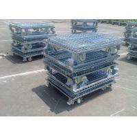 China Zinc Finish Rigid Rolling Wire Mesh Cage Foldable With Foot Brakes / Castors on sale
