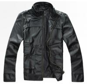 China custom-made Windproof Black Men's Autumn PU fleece lined Leather Jacket Coats on sale