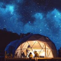 China Spacious 20M Diameter Geodesic Dome Tent With Transparent Fabric Outdoor Dome Tent on sale