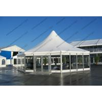 Hexagonal Pagoda High Peak Frame Tent 4m x 4m With Glass Sidewalls Luxury Lining Manufactures