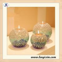 Crackle Glass Mosaic Candle holder for wedding centerpeice Manufactures