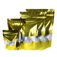 Stand Up Mylar Bags Gold Aluminum Foil Doypack with  Clear Window and Zip Lock Manufactures