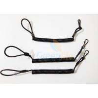 High Strength Black Pistol Bungee Coil Lanyard For Duty Belt Loop 150MM Wire