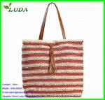 Stripe Color Paper String Lady Handbags Manufactures
